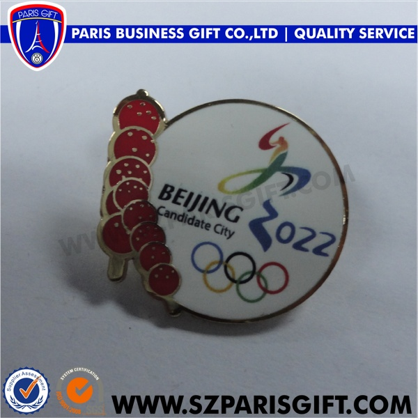 custom round hard enamel lapel pin for 2022Beijing candidate city