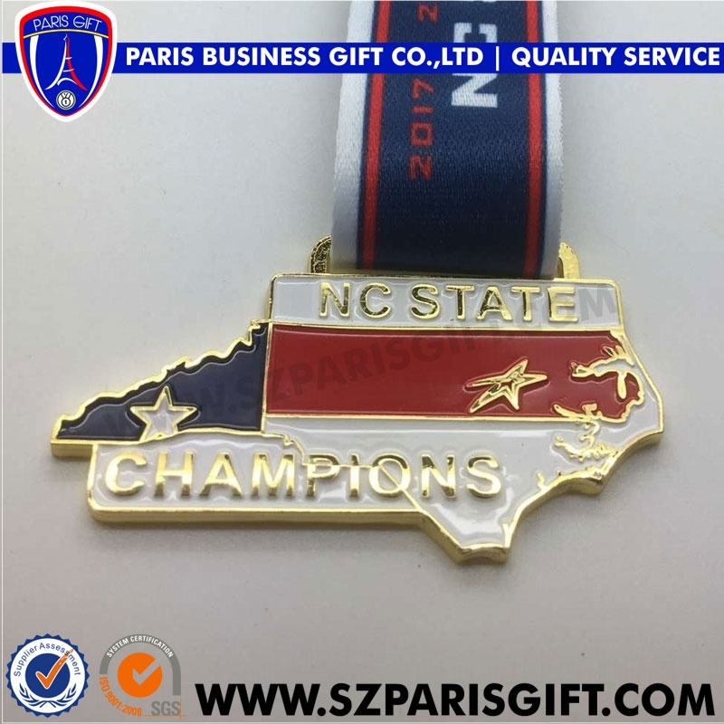NC State Map design champion medals from China best manufacturer of medal
