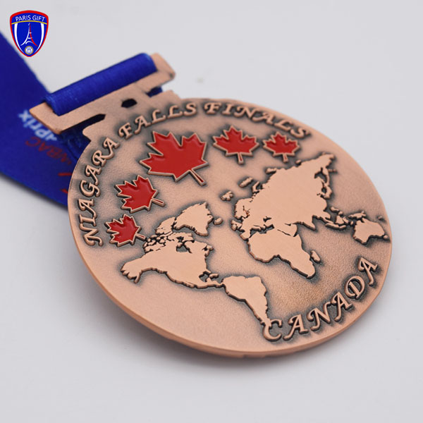 Canada cooper  gymnastics medal ribbon with maple and global map design
