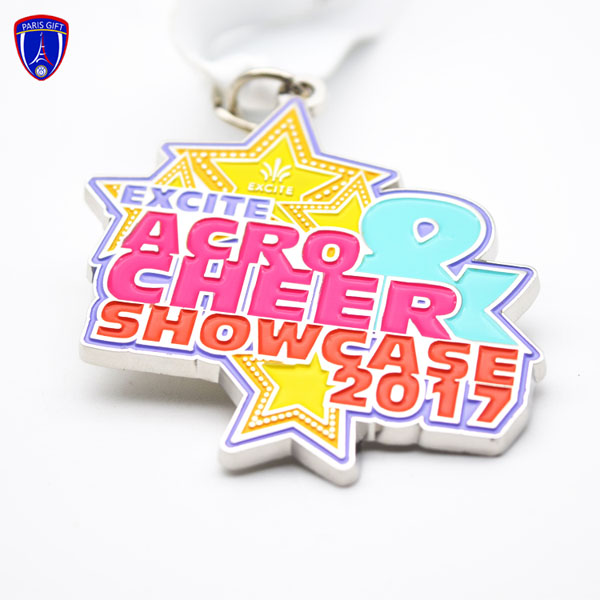 Silver Colorful cheer showcase star medals sport manufacture