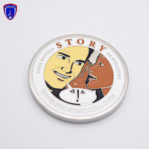 Custom funny design challenge silver coin with enamelled couple