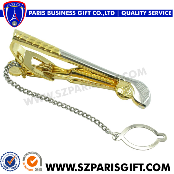 High End 3D Golf Tie Pin Gold Silver Plated Metal Tie Clip/Tie Bar/Tie Pin With Chain