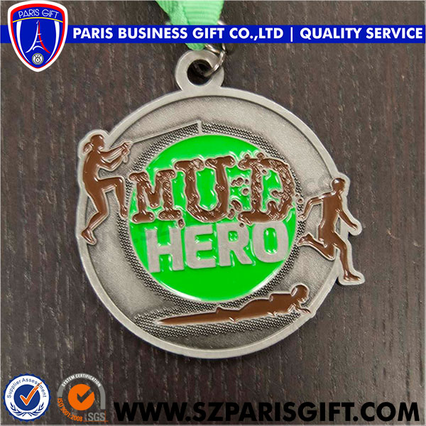 Mud Hero Medal Silver Soft Enamel Green Medals Manufacture