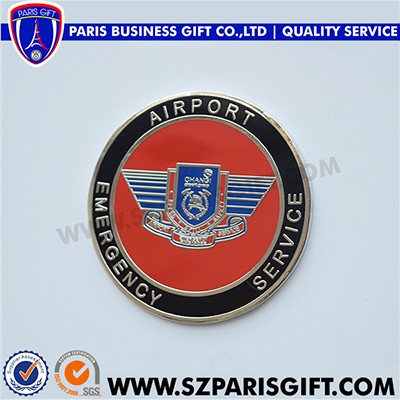 airport colored Service coin round medallion