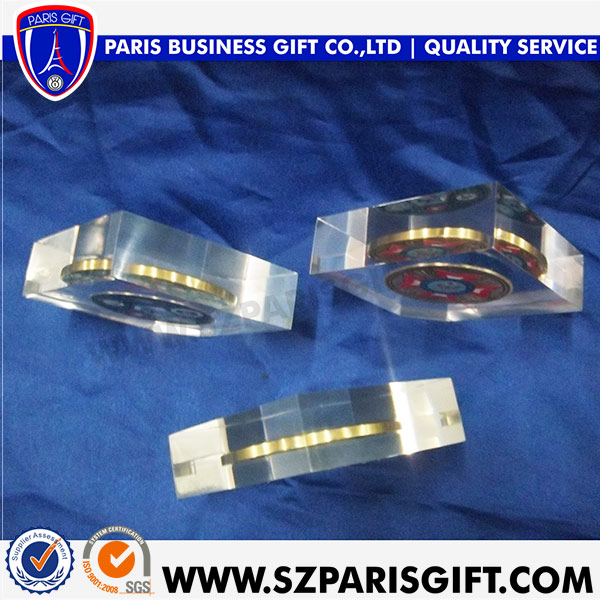 Souvenir Crystal With Metal Badge Medals