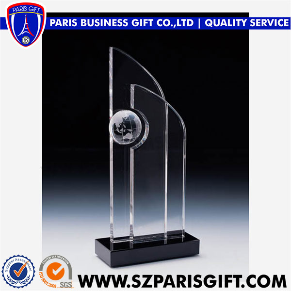 Noble Globe 3d Laser Engraved Crystal Award Trophy