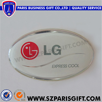 Custom oval epoxy sticker aluminum lapel